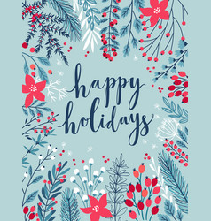 christmas calligraphic card vector image