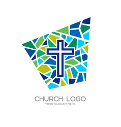 Church logo christian symbols cross of jesus vector