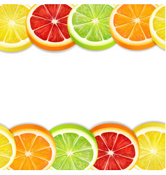Citrus fruits slices seamless horizontal pattern vector