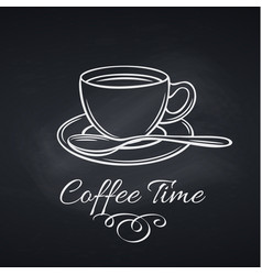 coffee cup on chalkboard vector image