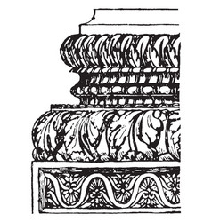 Corinthian base from the temple of concord vector