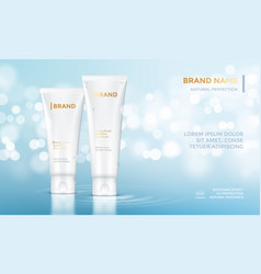 Cosmetic package advertising template skin care vector