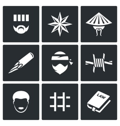 Criminal racial groups in prison icons set vector