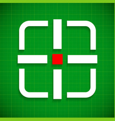 crosshair target over green gridded background vector image