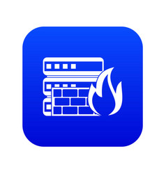Database and firewall icon digital blue vector