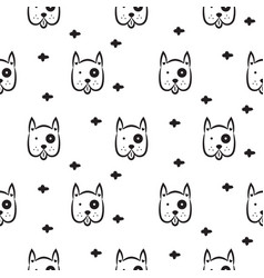 Dog scandinavian seamless monochrome vector