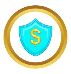Dollar sign on blue shield with tick icon vector