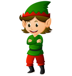Elf in green shirt and hat vector
