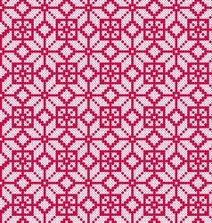 Embroidered red and white nordic geometric pattern vector