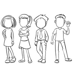 faceless people in black and white vector image