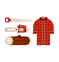 flat set of icons related to lumberjack vector image