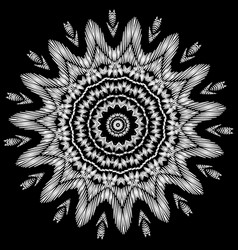 Floral black and white embroidery mandala vector
