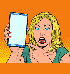 Furious woman and smartphone vector