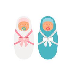 girl and boy babies vector image