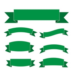 Green banners set Beautiful blank decoration vector image