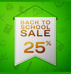 grey pennant back to school sale twenty percent vector image