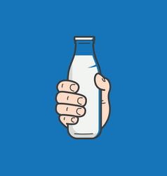 Hand hold milk bottle male hand holding a milk vector