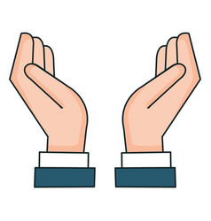 Hands protected isolated icon vector
