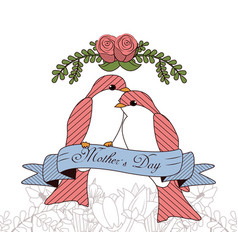 Happy mothers day card with beautiful bird and vector