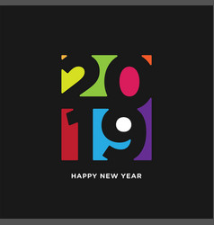 Happy new year 2019 card in paper style isolated vector