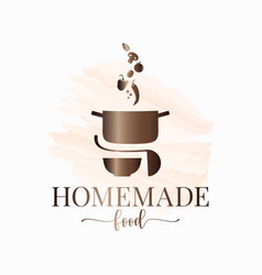 Homemade food watercolor logo pan with vegetables vector