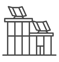 house solar panel icon outline style vector image