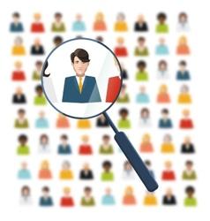 HR looking for worker in crowd vector