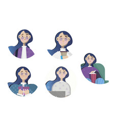 Icons for girls emoji vector