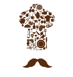 kitchen tool icons on chef hat with mustache vector image