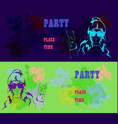 let s party design template with fashion girl and vector image