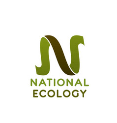 letter n icon for national ecology concept vector image