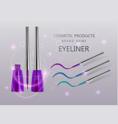 liquid eyeliner set of purple color eyeliner vector image