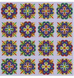 mexican talavera ceramic tile pattern ethnic folk vector image