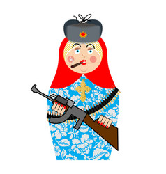 Military matrioshka with gun new russian folk vector