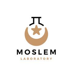 Moslem laboratory crescent moon star logo icon vector