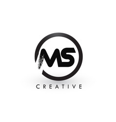 ms brush letter logo design creative brushed vector image