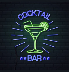 neon sign cocktail bar on brick wall background vector image