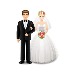 Newlyweds isolated on white vector