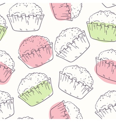 Outline seamless pattern with muffins vector image