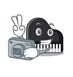 photographer piano mascot cartoon style vector image