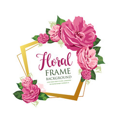 Pink floral frame design isolated vector