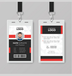Professional id card with red details vector