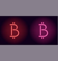 red and pink neon bitcoin sign vector image