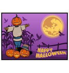 scarecrow pumpkin halloween banner design vector image