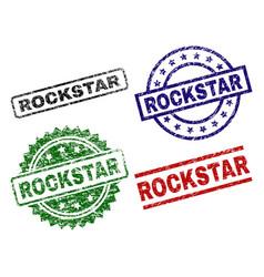Scratched textured rockstar stamp seals vector