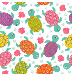 Seamless pattern with turtle vector