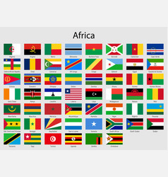 Set flags african countries all africa flag vector