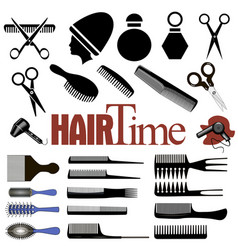 set items for hairdresser comb scissors vector image