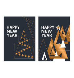 set modern happy new year greeting card vector image