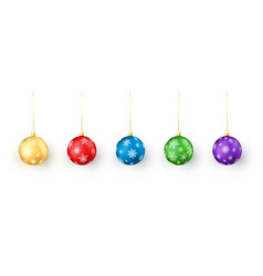 set of christmas balls on white background vector image